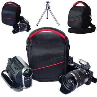 First2savvv black professional heavy duty digital camera carrying case bag for olympus SZ 31MR SZ 14 SP 620UZ SP 810UZ SP 610UZ E 450 E PL5 E PM2 E PM1 XZ 2 with mini tripod  Camera & Photo