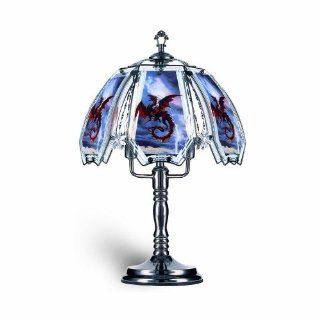OK Lighting OK632US12SP3 23.5 Inch Height Touch Lamp with Red Dragon Theme, Black Chrome   Table Lamps