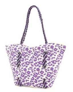 Purple Animal Print Straw Tote Handbag Clothing