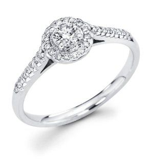 14k White Gold Cirque Halo Solitaire Round Diamond Engagement Ring w/ Micro Pave Set Diamond Side Stones (1/3 cttw, 1/5 ct Center, G H Color, I1 Clarity) Jewelry
