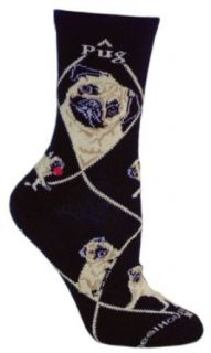 Fawn Pug Black Cotton Dog Novelty Socks for Adults 9 11