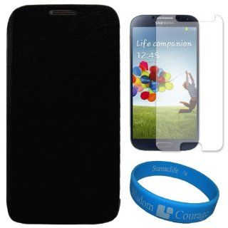 VG Premium Faux Leather Flip Carrying Case w/ Sleeve Mode Function (Black) for Samsung Galaxy S4 / S IV Android Smart Phones + Clear Anti Glare Screen Protector Strip w/ Cleaning Cloth + SumacLife TM Wisdom Courage Wristband Cell Phones & Accessories