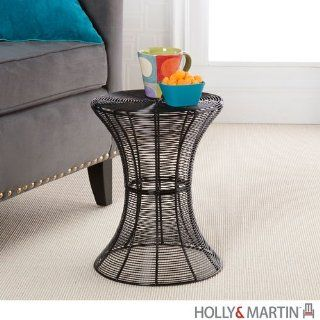 Holly & Martin Metal Spiral Accent Table in Black   Sofa Tables