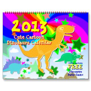 Cartoon Dinosaurs Kids Calendar 2013