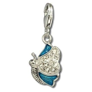 SilberDream Charm blue,pink and purple enameled butterfly with white zirconia, 925 Sterling Silver Charms Pendant with Lobster Clasp for Charms Bracelet, Necklace or Earring FC670 SilberDream Jewelry