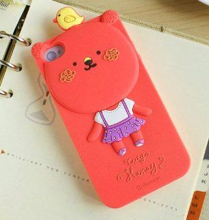 Cartoon Case Cover for Apple iPhone 4 4S # 5 Rose Red Cute Bear with Bird friend Cell Phones & Accessories