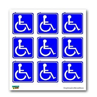 Disabled Wheelchair Symbol BLUE Set of 9   Handicapped   Window Bumper Laptop Stickers Automotive