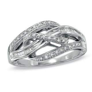 CT. T.W. Diamond Looped Bypass Ring in Sterling Silver   Size 7
