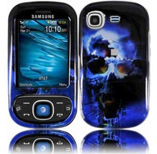 Blue Black Skull Hard Cover Case for Samsung Strive SGH A687 Cell Phones & Accessories