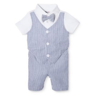 G Cutee Newborn Boys Short Sleeve Seersucker Romper   Nautical Blue 3 6 M