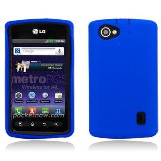 For LG Optimus M+/MS695 HYBRID Hard/Rubber Cover Case Black/Blue Cell Phones & Accessories