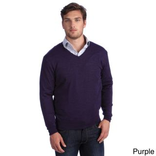 Luigi Baldo Luigi Baldo Italian Made Mens Fine Gauge Merino V neck Sweater Purple Size S