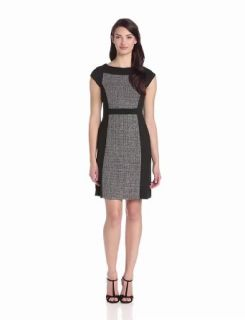 Anne Klein Women's Cap Sleeve Color Block Dress, Black/White, 2