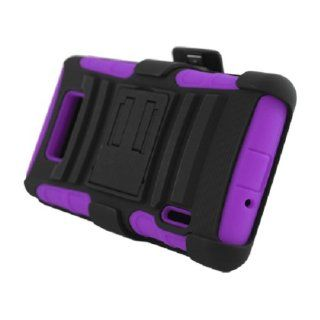 SOGA(TM) Black On Purple Hybrid Dual Layer Heavy Duty Armor Combat Case Cover With Belt Clip Holster Kickstand For LG Optimus Showtime L86C L86G Straight Talk / LG Splendor Venice US730 U.S. Cellular, Boost Mobile, Sprint with SogaWireless Stylus Pen [SWA3