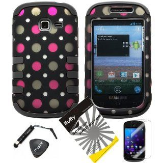 4 items Combo ITUFFY(TM) LCD Screen Protector Film + Mini Stylus Pen + Case Opener + Black Pink Polka White Dots Design Rubberized Hard Plastic + BLACK Soft Rubber TPU Skin Dual Layer Tough Hybrid Case for Straight Talk Samsung Galaxy Proclaim 720C SCH S7