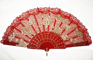 Red Embroidered Silk Folding Fan Hand Fan with Rose  Decorative Hanging Ornaments
