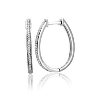 CT. T.W. Diamond Vintage Style Hoop Earrings in Sterling Silver