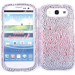 Pink Silver White Bling Case Rhinestone Cover For Samsung Galaxy S 3 S3 III I747 I9300 w/ Free Pouch Cell Phones & Accessories