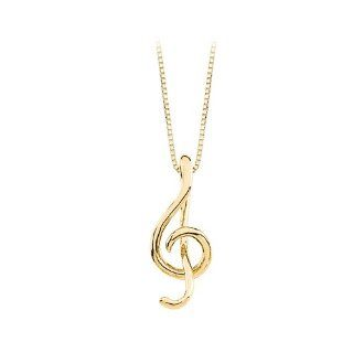 14K Yellow Gold Treble Clef Musical Note Pendant with Chain Katarina Jewelry