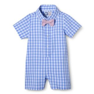 G Cutee Newborn Boys Short Sleeve Gingham Romper   Nautical Blue 18 M