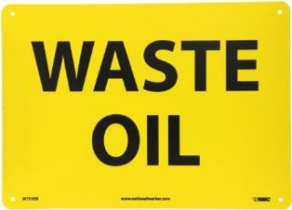"NMC M751RB Hazardous Materials Sign, Legend ""WASTE OIL"", 14"" Length x 10"" Height, Rigid Polystyrene Plastic, Black on Yellow Industrial Warning Signs"