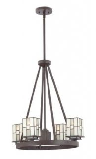 Quoizel TFFN5004WT Finley 5 Light Tiffany Rod Hung Chandelier, Western Bronze