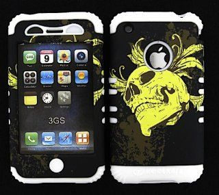 For Apple iPhone 3G S Hard White Skin+Yellow Skull Snap Case Cover Hybrid Rubber Cell Phones & Accessories