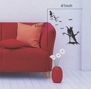 Large  Easy instant decoration wall sticker wall mural halloween home decal costumes bat howl angel black blood bone boo candy cat crown fall witch spider web prince pumpkin scarecrow ghost house RIP FL770   Childrens Wall Decor