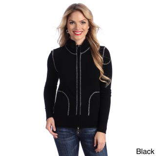 Luigi Baldo Italian Made Cashmere Luigi Baldo Womens Sporty Full zip Sweater Black Size S (4  6)