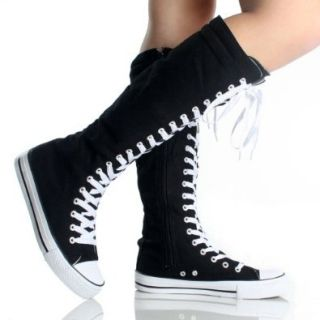 Canvas Sneakers Ladies Flat Tall Punk Womens Skate Shoes Lace up Knee High Boots Shoes