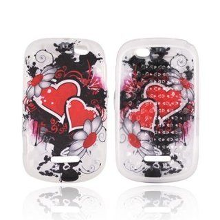 Red Hearts & Flowers on Frost White Motorola Clutch+ i475 TPU Gel Case Cover [Anti Slip] Supports Premium High Definition Anti Scratch Screen Protector; Best Design with High Quality; Coolest Soft Silicone Rubber Case Cover for Clutch+ i475 (Release Da