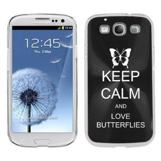 Black Samsung Galaxy S III S3 Aluminum Plated Hard Back Case Cover K1391 Keep Calm and Love Butterflies Cell Phones & Accessories
