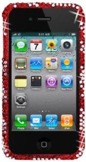 DECORO FDIP4IMZ803E Premium Full Diamond Protector Case for Apple iPhone 4/4S   1 Pack   Retail Packaging   Red and Silver Zebra Cell Phones & Accessories