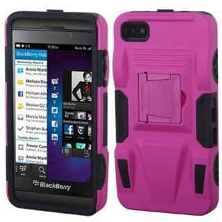 MyBat ABB10HPCSAAS804NP Advanced Rugged Armor Hybrid Combo Case with Kickstand for BlackBerry Z10   Retail Packaging   Hot Pink/Black Cell Phones & Accessories