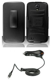 Samsung Galaxy Mega (AT&T)   Accessory Kit   Black Battle Rugged Kickstand Case + Belt Clip Holster + Atom LED Keychain Light + Micro USB Car Charger Cell Phones & Accessories