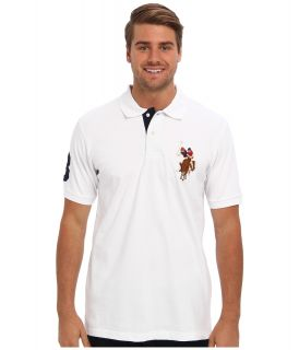 U.S. Polo Assn Multicolor Horse Big Pony Mens Short Sleeve Knit (White)