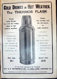 Antique Print of 1908 Advertisement Gutmann Thermos Flask Long Lane London