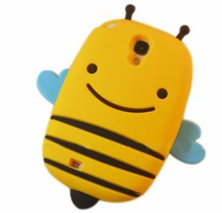 XKM 3D Yellow Cartoon Smile Bee Shape Rubber Cover Soft Gel Silicone Skin Case for Samsung Galaxy S4 i9500 Cell Phones & Accessories