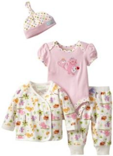 Happi by Dena Baby Girls Newborn Jungle Friends 4 Piece Set, Pink, 6 9 Months Infant And Toddler Layette Sets Clothing