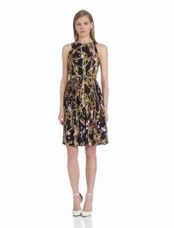 Isaac Mizrahi Women's Sleeveless Printed Flare Dress, Black/Pink, 14