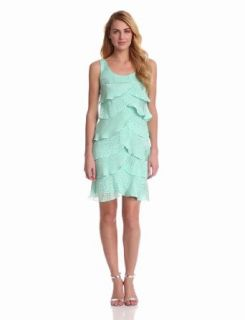 London Times Women's Sleeveless Shutter Dress, Aqua, 6