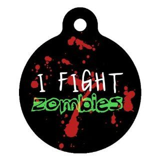 Dog Tag Art Custom Pet ID Tag for Dogs   Zombie Fighter   Large   1.25 inch  Pet Identification Tags