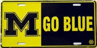 (6x12) University of Michigan Wolverines Go Blue NCAA Tin License Plate   Prints
