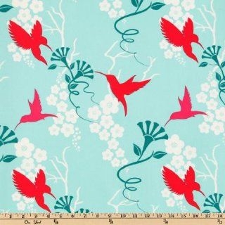 44'' Wide Michael Miller Flora And Fauna Humming Birds Turquoise By The Yard
