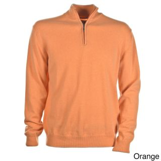 Luigi Baldo Luigi Baldo Italian Made Mens Cashmere 1/4 Zip Sweater Orange Size L