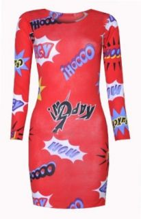 Womens Pow Cartoon Long Sleeved Party Dress
