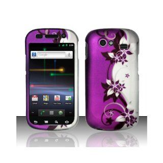 Purple Silver Flower Hard Cover Case for Samsung Google Nexus S i9020 Cell Phones & Accessories