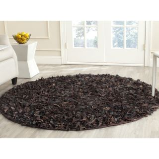 Safavieh Handmade Leather Shag Dark Brown Leather Rug (6 Round)