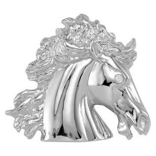 14k White Gold The Magnificent Lipizzaner Diamond Horse Head Pendant, (GH Color, I1 Clarity, .015 Cttw) Jewelry