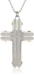 "Men's Stainless Steel with Gold Ion Plating and Cubic Zirconia on 24"" Wheat Chain Cross Pendant Necklace Jewelry"